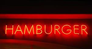 Segno al neon dell'hamburger Fotografia Stock Libera da Diritti