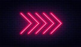 Segno al neon della freccia Puntatore a freccia al neon d'ardore sul fondo del muro di mattoni Retro insegna con i tubi al neon l illustrazione vettoriale