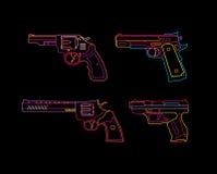 Segno al neon della rivoltella royalty illustrazione gratis