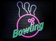 Segno al neon di bowling sul fondo del muro di mattoni illustrazione vettoriale