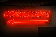 Segno al neon di concessioni Fotografie Stock Libere da Diritti