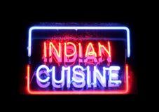 Segno al neon di cucina indiana Fotografia Stock Libera da Diritti