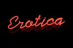 Segno al neon di Erotica Fotografie Stock