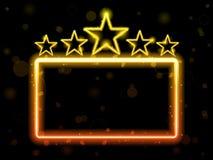 Segno al neon di film della stella Fotografia Stock