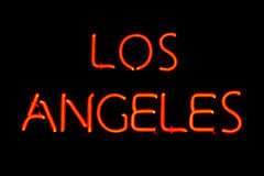Segno al neon di Los Angeles Fotografia Stock