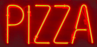 Segno al neon HDR della pizza Fotografia Stock