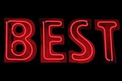 Segno al neon - la cosa migliore Fotografia Stock