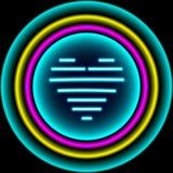 Segno al neon Retro fondo al neon del cuore Aspetti per la vostra progettazione, g Fotografia Stock