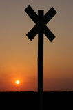 Segno al tramonto Fotografia Stock Libera da Diritti