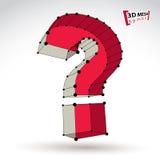 segno alla moda del punto interrogativo di web della maglia 3d sul backgro bianco Immagine Stock