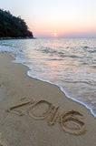 Segno alla spiaggia Fotografia Stock