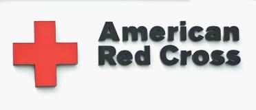 Segno americano della croce rossa Fotografia Stock
