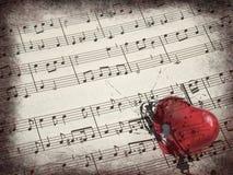 Segno & cuore di musica Fotografie Stock