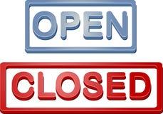 Segno aperto-chiuso del negozio Fotografie Stock