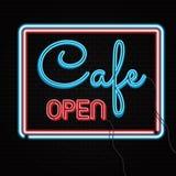 Segno aperto del caffè al neon sul muro di mattoni Fotografie Stock