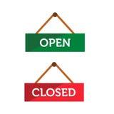 Segno aperto ed a porta chiusa Immagine Stock