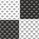 Segno Aries Freehand Seamless Pattern Set dello zodiaco Fotografie Stock Libere da Diritti