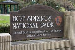 Segno Arkansas del parco nazionale di Hot Springs Immagini Stock