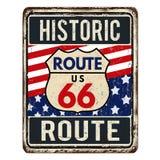 Segno arrugginito d'annata del metallo di Route 66 royalty illustrazione gratis