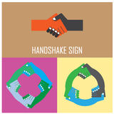 Segno astratto della stretta di mano Simbolo di associazione Fotografia Stock Libera da Diritti