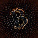 Segno astratto di Bitcoin sviluppato come matrice delle transazioni nell'illustrazione concettuale 3d di Blockchain Fotografie Stock Libere da Diritti