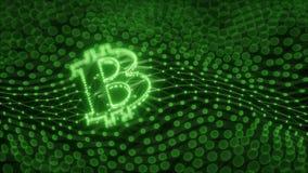Segno astratto di Bitcoin sviluppato come matrice delle transazioni nell'illustrazione concettuale 3d di Blockchain Fotografie Stock