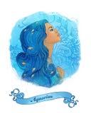 Segno astrologico del Aquarius come bella ragazza Illustrazione di Stock