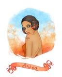 Segno astrologico del Aries come bella ragazza Illustrazione di Stock