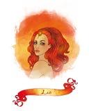 Segno astrologico del Leo come bella ragazza Royalty Illustrazione gratis