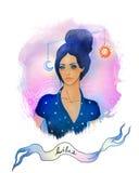 Segno astrologico del Libra come bella ragazza Illustrazione Vettoriale