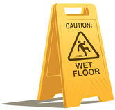 Segno bagnato di avvertenza del pavimento Immagine Stock Libera da Diritti