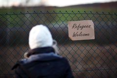 Segno benvenuto del rifugiato Fotografia Stock