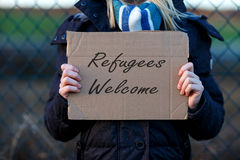 Segno benvenuto del rifugiato Fotografie Stock Libere da Diritti