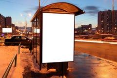Segno in bianco alla fermata dell'autobus Fotografia Stock Libera da Diritti