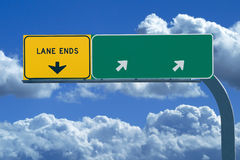 Segno in bianco dell'autostrada senza pedaggio Fotografie Stock Libere da Diritti