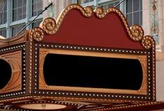 Segno in bianco della tenda foranea del teatro Immagini Stock