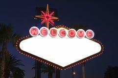 Segno in bianco di Las Vegas alla notte Fotografia Stock