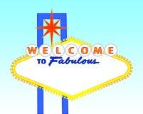 Segno in bianco di Las Vegas di tempo di giorno Immagini Stock Libere da Diritti