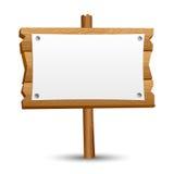 Segno in bianco di legno Fotografia Stock