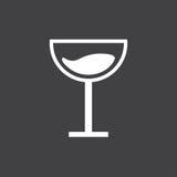 Segno in bianco e nero del bicchiere di vino Fotografia Stock