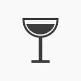 Segno in bianco e nero del bicchiere di vino Immagini Stock