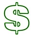 Segno bianco elettrificato del dollaro Fotografie Stock