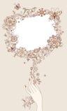 Segno in bianco floreale Fotografie Stock Libere da Diritti