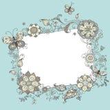 Segno in bianco floreale Fotografia Stock Libera da Diritti