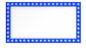 Segno blu del bordo della luce della tenda foranea retro su fondo bianco rappresentazione 3d illustrazione di stock