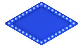 Segno blu del bordo della luce della tenda foranea retro su fondo bianco rappresentazione 3d immagini stock libere da diritti