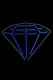 Segno blu del diamante e grigio al neon Fotografia Stock