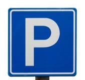 Segno blu europeo di parcheggio Fotografie Stock Libere da Diritti
