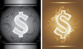 Segno brillante del dollaro sui precedenti decorativi Fotografie Stock Libere da Diritti