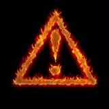 Segno Burning di avvertenza del triangolo Fotografia Stock Libera da Diritti